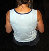 Incorrect finish of cable row: Back view